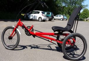 red trike with backrest